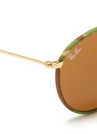 Detail View - Click To Enlarge - RAY-BAN - 'Round Camouflage' fabric rim wire sunglasses
