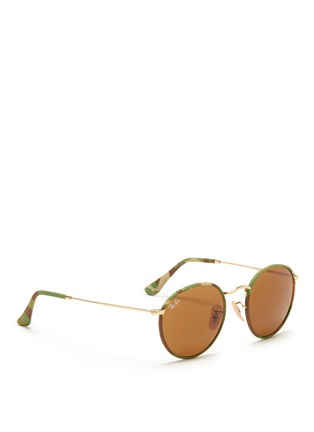 Figure View - Click To Enlarge - RAY-BAN - 'Round Camouflage' fabric rim wire sunglasses