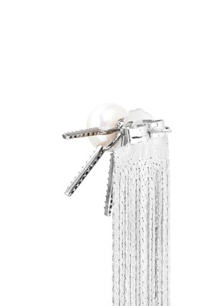 Detail View - Click To Enlarge - Venna - Strass pavé pearl star fringe drop earrings