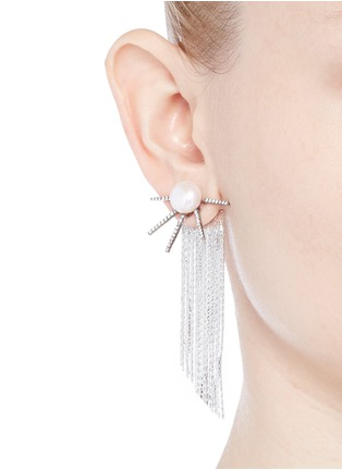 Figure View - Click To Enlarge - Venna - Strass pavé pearl star fringe drop earrings