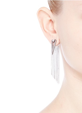 Figure View - Click To Enlarge - Venna - Strass pavé triangle fringe drop earrings
