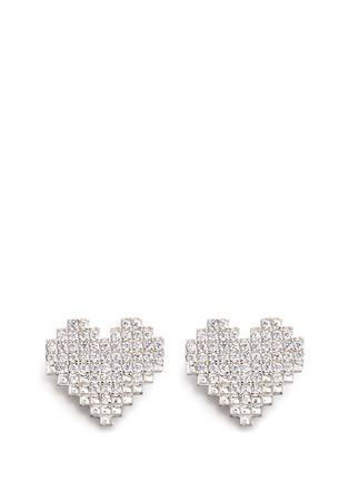 Detail View - Click To Enlarge - VENNA - Strass pavé heart pearl drop earrings