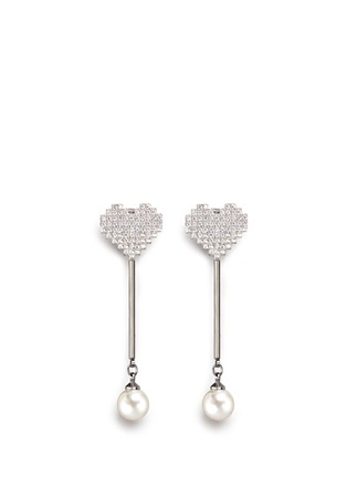 Main View - Click To Enlarge - Venna - Strass pavé heart pearl drop earrings