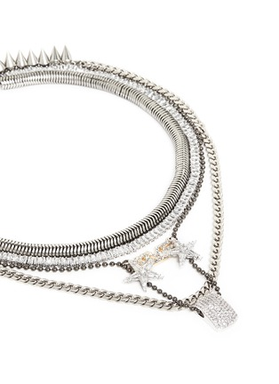 Detail View - Click To Enlarge - Venna - 'Love' zircon pavé pendant mix chain necklace