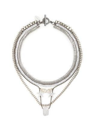 Main View - Click To Enlarge - Venna - 'Love' zircon pavé pendant mix chain necklace