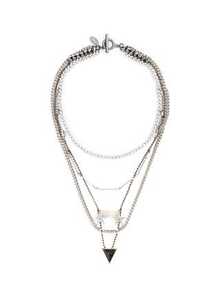 Main View - Click To Enlarge - Venna - 'Love' zircon pavé arrow pendant mix chain necklace
