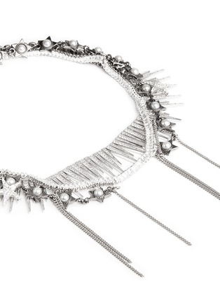 Detail View - Click To Enlarge - Venna - Pearl star spike strass pavé fringe necklace