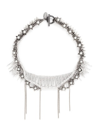 Main View - Click To Enlarge - Venna - Pearl star spike strass pavé fringe necklace