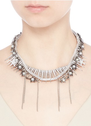 Figure View - Click To Enlarge - Venna - Pearl star spike strass pavé fringe necklace