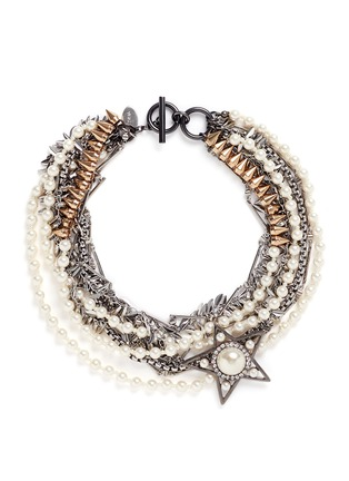 Main View - Click To Enlarge - Venna - Strass pearl star charm mix chain necklace