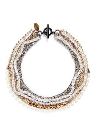 Main View - Click To Enlarge - Venna - Strass pavé chevron chain pearl necklace