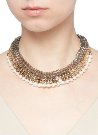 Figure View - Click To Enlarge - Venna - Strass pavé chevron chain pearl necklace