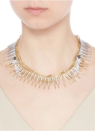Figure View - Click To Enlarge - Venna - Strass pavé fringe star chain necklace