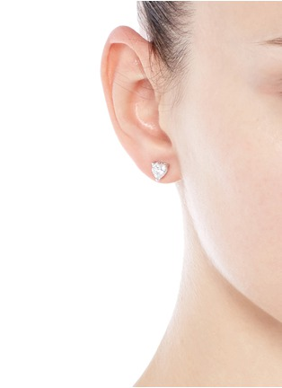 Figure View - Click To Enlarge - CZ by Kenneth Jay Lane - Heart cubic zirconia stud earrings