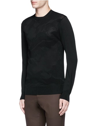 Front View - Click To Enlarge - Neil Barrett - Camouflage ottoman knit sweater