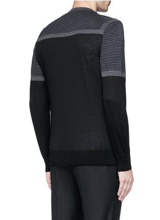 Back View - Click To Enlarge - Neil Barrett - Shoulder panel Merino wool zip cardigan