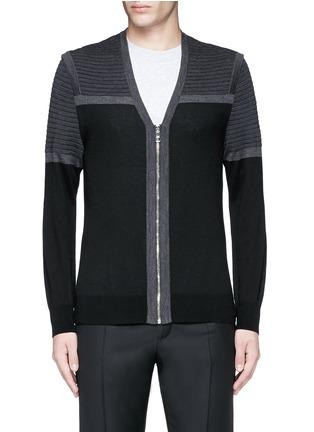 Main View - Click To Enlarge - Neil Barrett - Shoulder panel Merino wool zip cardigan