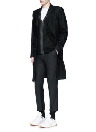 Figure View - Click To Enlarge - Neil Barrett - Shoulder panel Merino wool zip cardigan