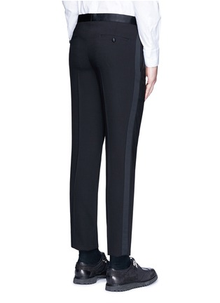 Back View - Click To Enlarge - Neil Barrett - Satin tuxedo stripe virgin wool pants