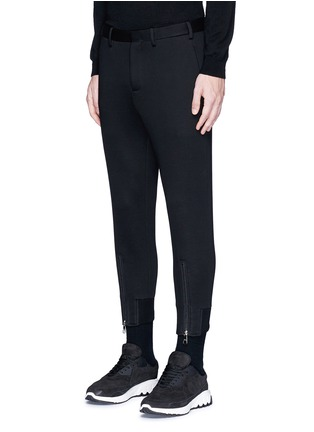 Front View - Click To Enlarge - Neil Barrett - Zip cuff bonded jersey tailored pants