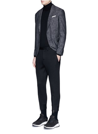Figure View - Click To Enlarge - Neil Barrett - Zip cuff bonded jersey tailored pants