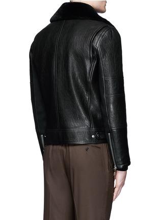 Back View - Click To Enlarge - NEIL BARRETT - Lamb shearling collar leather biker jacket