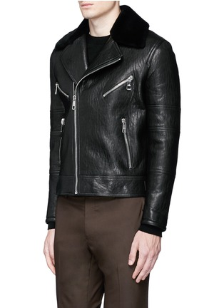 Front View - Click To Enlarge - NEIL BARRETT - Lamb shearling collar leather biker jacket