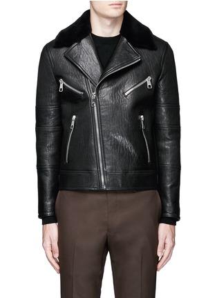 Main View - Click To Enlarge - NEIL BARRETT - Lamb shearling collar leather biker jacket