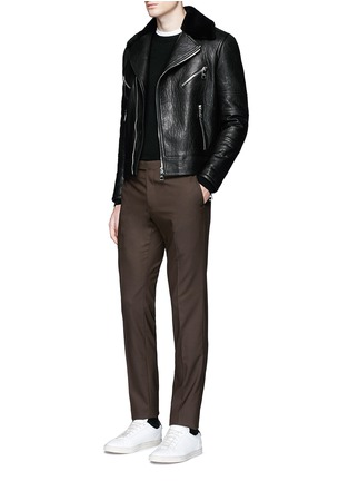 Figure View - Click To Enlarge - NEIL BARRETT - Lamb shearling collar leather biker jacket