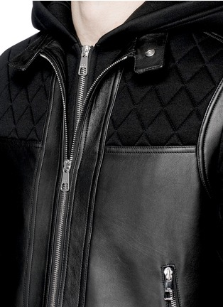 Detail View - Click To Enlarge - NEIL BARRETT - Leather front bonded jersey double zip hoodie