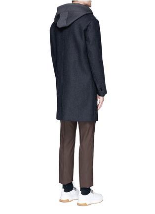 Back View - Click To Enlarge - Neil Barrett - Vest underlay herringbone long wool coat