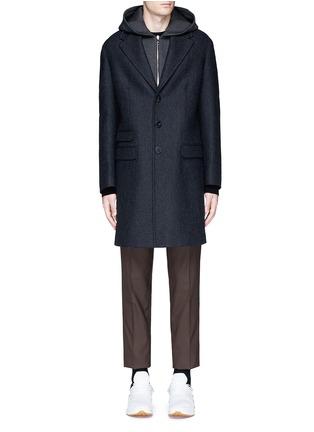 Main View - Click To Enlarge - Neil Barrett - Vest underlay herringbone long wool coat