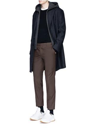 Figure View - Click To Enlarge - Neil Barrett - Vest underlay herringbone long wool coat
