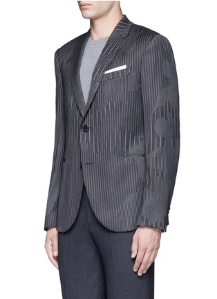 Front View - Click To Enlarge - Neil Barrett - Slim fit camouflage pinstripe blazer