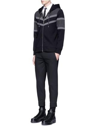 Figure View - Click To Enlarge - Neil Barrett - Panelled bonded jersey zip hoodie