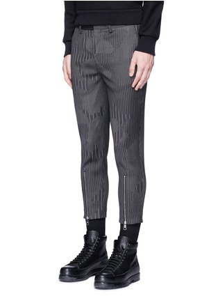 Front View - Click To Enlarge - Neil Barrett - Camouflage pinstripe zip cuff cropped pants