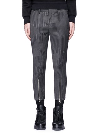 Main View - Click To Enlarge - Neil Barrett - Camouflage pinstripe zip cuff cropped pants