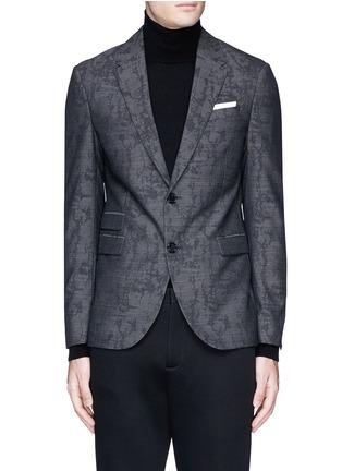 Main View - Click To Enlarge - Neil Barrett - Slim fit camouflage jacquard blazer
