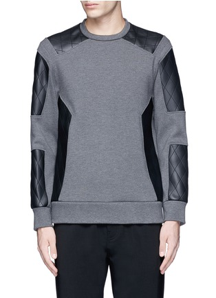 Main View - Click To Enlarge - Neil Barrett - Quilted faux leather patch sweatshirt