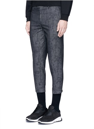 Front View - Click To Enlarge - Neil Barrett - Camouflage jacquard cropped virgin wool pants