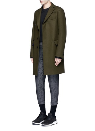 Figure View - Click To Enlarge - Neil Barrett - Camouflage jacquard cropped virgin wool pants