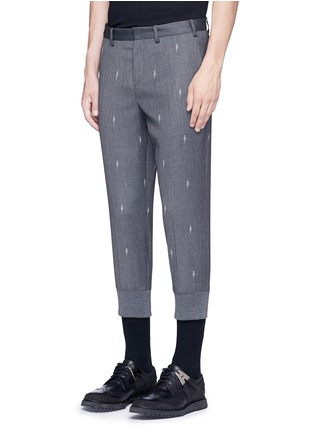 Front View - Click To Enlarge - Neil Barrett - Slim fit thunderbolt jacquard cropped pants