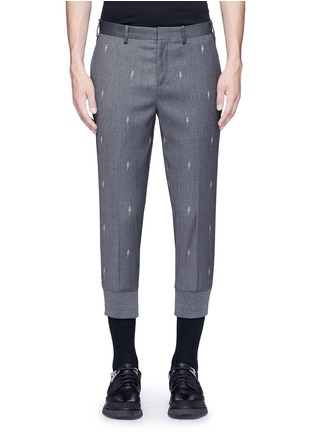 Main View - Click To Enlarge - Neil Barrett - Slim fit thunderbolt jacquard cropped pants