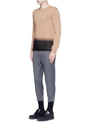 Figure View - Click To Enlarge - Neil Barrett - Slim fit thunderbolt jacquard cropped pants