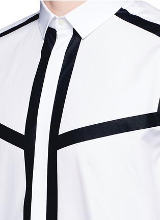 Detail View - Click To Enlarge - Neil Barrett - Contrast stripe cotton poplin shirt