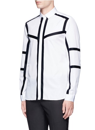 Front View - Click To Enlarge - Neil Barrett - Contrast stripe cotton poplin shirt