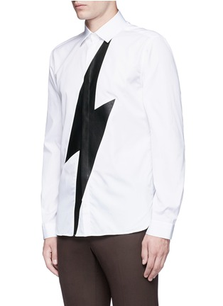 Front View - Click To Enlarge - Neil Barrett - Leather thunderbolt cotton shirt