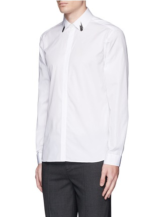 Front View - Click To Enlarge - Neil Barrett - Thunderbolt print collar poplin shirt