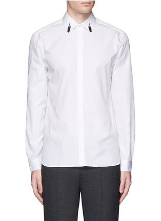 Main View - Click To Enlarge - Neil Barrett - Thunderbolt print collar poplin shirt