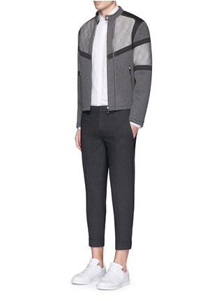 Figure View - Click To Enlarge - Neil Barrett - Thunderbolt print collar poplin shirt